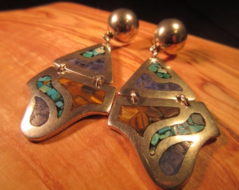 Vintage Sterling Silver Turquoise Mexico TD Earrings