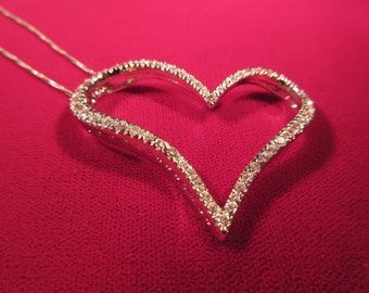 Cool Vintage Sterling Silver CZ Heart Necklace