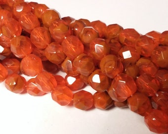 15pcs Hyacinth Two Tone Beads - Czech Glass Beads - Faceted Beads - 6mm Beads - BB53
