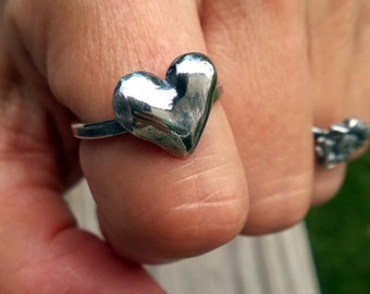 Silver Heart Ring/ Puffed Heart Ring/ Solid Heart Ring/ Big Heart Ring/ Antiqued Heart Ring/ Love Ring/ Heart Shaped Ring/ Statement Ring