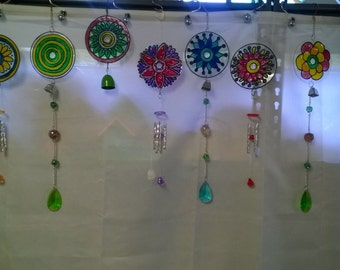 Wind Chimes, Recycled CDs, Sun Catcher, Garden Art, Mobile, Wind Spinners, Up Cycled CDs, Faux Stained Glass Paint, Yard Art