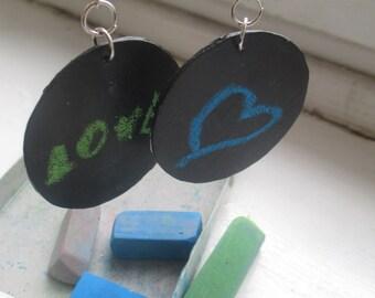 Black Chalk-board Paint Writable Earrings
