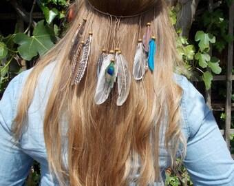 Natural Boho Feather Festival Headpiece