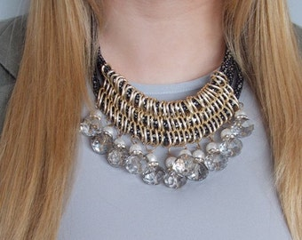 Chunky Grey Beaded Statement Necklace