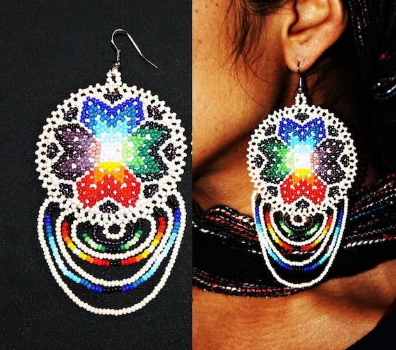 Native Earrings Native American Beaded Earrings Huichol