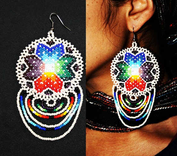 Choctaw Beads: Native Earrings Native American Beaded Earrings Huichol