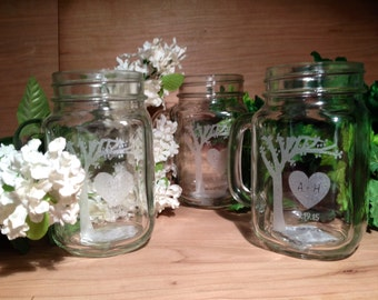 Engraved Mason Jar Mugs