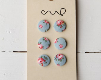Set of 6 Handmade Cath Kidston Fabric Covered Buttons 22mm Hampton Rose Blue Floral