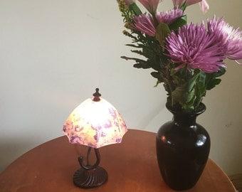 Miniature tiffany type umbrella lamp  excellent condition