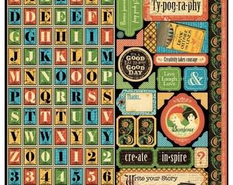 Graphic 45 Typography - Alpha Sticker Sheet