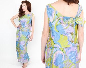 60s Blue Green Silk Evening Gown | Cerulean Blue and Lime Green Silk Formal | Op Art Print | I Magnin | Medium