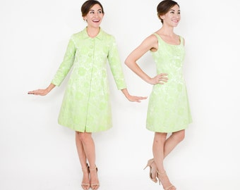 60s Brocade Dress Coat Set | Lime Green Floral Party Dress & Evening Coat | Battlestein's Houstein |Small