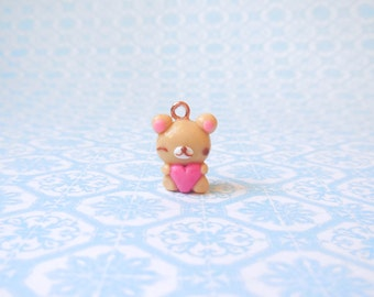Polymer Clay Teddy Bear with Heart Charm