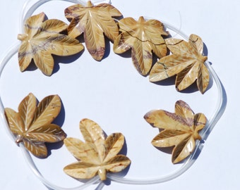 One piece hand carved picture jasper maple leaf focal bead, Gray, Tan, Brown, approximately 45 x 45 mm
