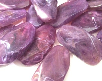Large Purple Gem Stone Beads - Amethyst Acrylic Beads that look like stained glass for Jewelry Making-Necklaces, Bracelets, Earrings! 45mm