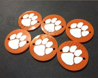 White Paw Prints on 2 hole orange disc - Clemson South Carolina jewelry making, bangle bracelet, gift, handmade beads - 1.25 inch size