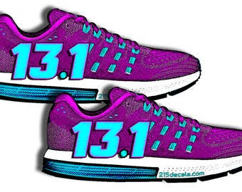 PURPLE 13.1  Running Shoe Vinyl Sticker Decal Graphic Fit Jog Run Workout Work Out Girl Lady Women 1/2 Marathon Ironman