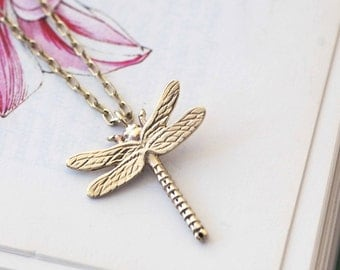 Gold Dragonfly Necklace, gold necklace, gifts for her, Uk