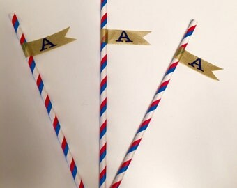 Customized Blue, Red and White Straws