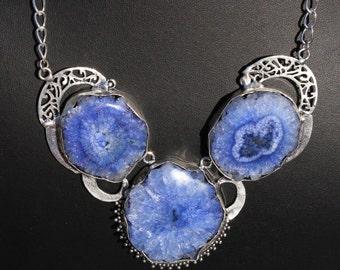 """22"""" Long Blue Solar Quartz Necklace, Solar Quartz Silver Necklace, Solar Designer Necklace, Bohemian, Tribal DP12"""