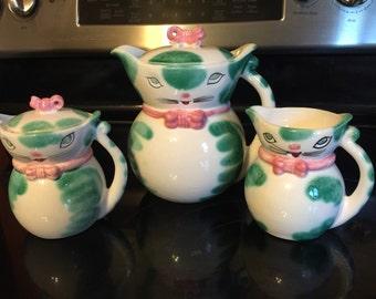 Vintage Japan Kitty Cat Tea pot Sugar & Creamer