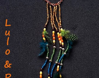 Rio, breastplate necklace beads and feathers