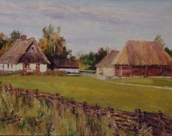 Original Landscape Oil Painting - Poland Farm