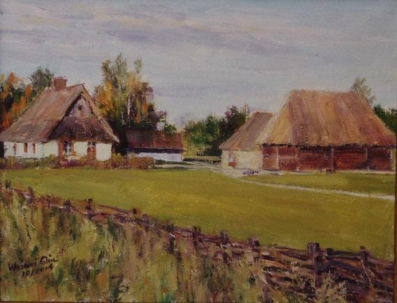 Original Landscape Oil Painting Poland Farm