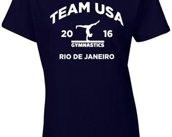 GYMNASTICS RIO Team USA United States America Junior Fit Ladies Tee Shirt 1472