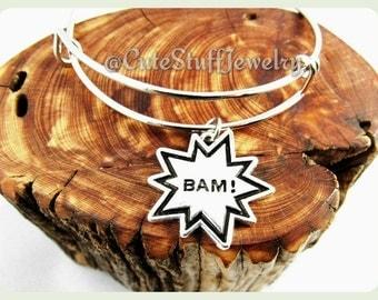 Comic Book Bracelet,  Comic Book Bangle, BAM! Comic Bracelet, BAM! Comic Bangle Bracelet, Handmade Geek Jewelry