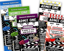 Movie Birthday Printable Ticket Invitations - DIY Movie Party Tickets - Movie Birthday Party - Girls - Boys - Purple - Blue - fundraiser