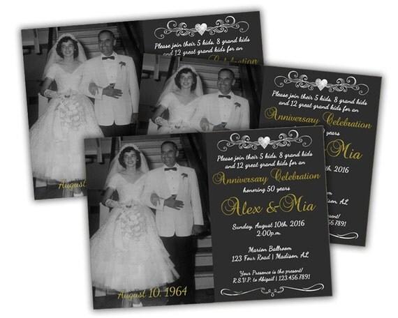 50th Wedding Vow Renewal Invitations: Chalk Photo 50th Anniversary Invitations By PartyPrintExpress