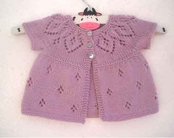 Bethany Cardi - Knitting Pattern - Baby girl to age 6 cardigan - Instant Download PDF