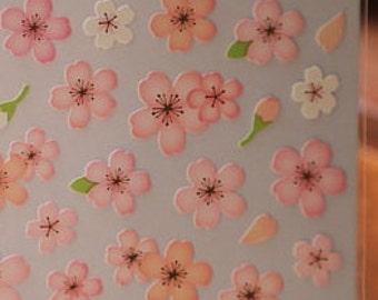 Japanese Sakura Cherry Blossom Chiyogami Stickers - Pink Light Pink Asian Flowers Sticker