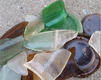 Lot of 15+ Large Pieces of Authentic New Jersey Beach Glass