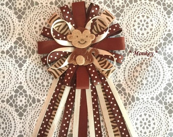 Monkey brown and polka dot baby shower pin corsage