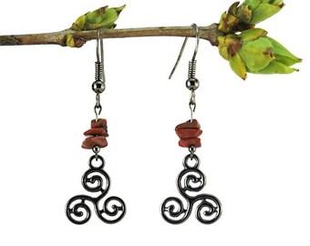 Black silver earrings, red jasper jewelry, dangle triskele earrings, celtic symbol jewelry, black triskele jewelry, celtic earrings trisk