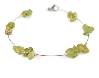 Peridot bracelet, minimalist jewelry, dainty bracelet, semi precious gemstone bracelet, delicate bracelet thin bracelet silver bracelet naya