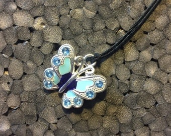 Blue Enameled Butterfly Charm Necklace