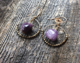 Gemstone earrings - dangle earrings - amethyst earrings - boho earrings - beaded earrings