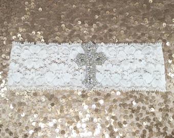 Baptism cross headband, christening cross headband, white rhinestone headband, white stretch lace, rhinestone cross