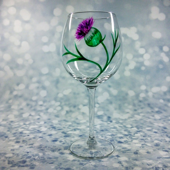 Hand Painted Thistle Red Wine Goblet Wine Glass Unique