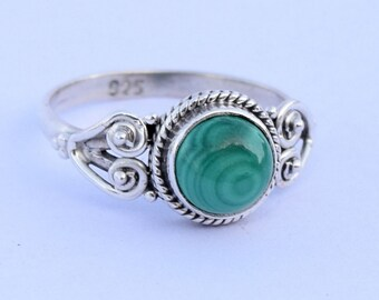 925 Sterling Silver Ring Malachite Gemstone Ring Stone Ring Size US 5 6 7 8 9 10 11 12   Gift Idea, Girlfriend gift Ring, Gift For Her