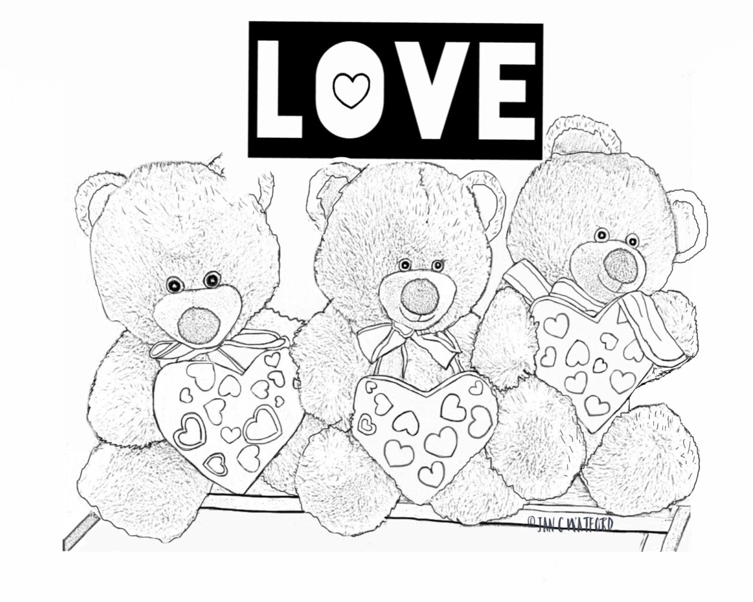 valentine teddy bears coloring pages coloring page gray