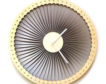 Turbine - wood + plastic wall clock, contemporary wall art