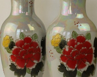 Pair of Tall Vases with Chrysanthemum Decoration