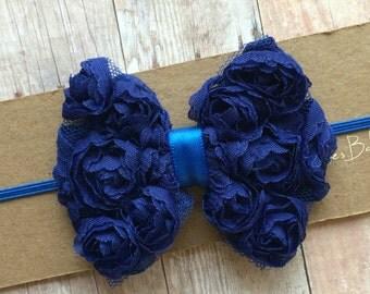 Baby Headband/ Blue Baby Headband/ Blue Bow Headband/ Blue Headband/ Baby Headband Blue/ Baby Bow Headband/ Newborn Headband