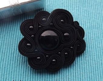 Black soutache  brooch