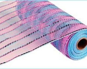 "10"" Metallic Striped Pink/Blue Deco Poly Mesh,  Deco Poly Mesh Wreath Supplies (10 Yards) - RE1351X6"