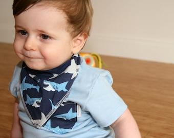 Light Blue Tee with Shark Pocket - Australian Clothing for Baby Boys - Sydney, Australia